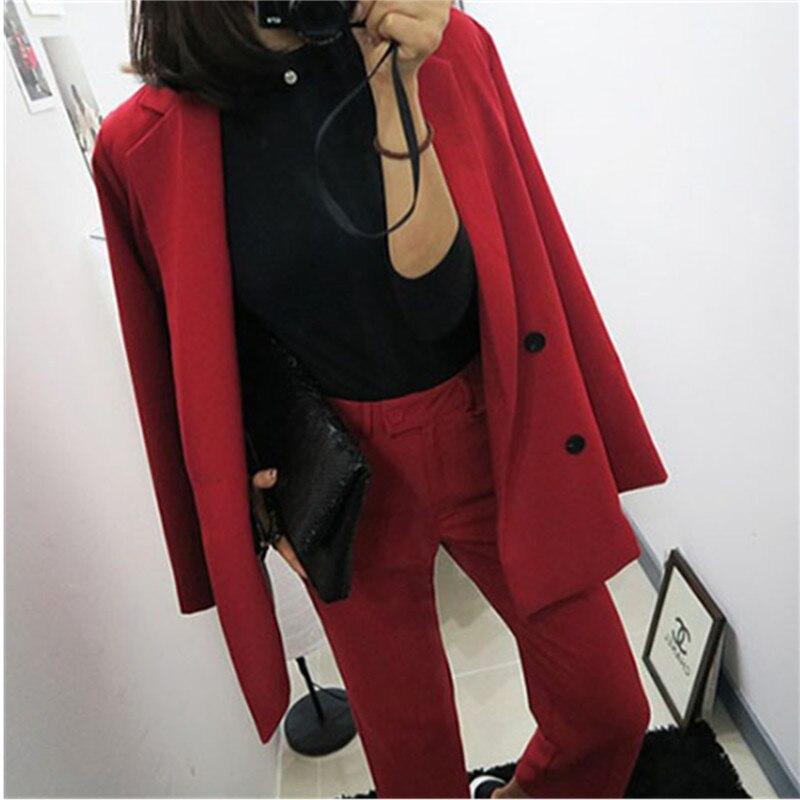 Pièces Mode Rouge Costume 2018 Femme 1 Printemps Deux Automne Ensembles Dames Deux Nouvelle Lâche Pièce Femmes Coréenne Et PfnB6xw6