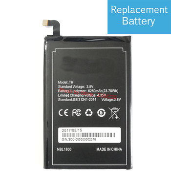 New 3.8V 6250mAh 100% Replacement Battery Bateria Batterie For DOOGEE T6 Pro OUKITEL K6000 Pro Mobile Phone Batteries image