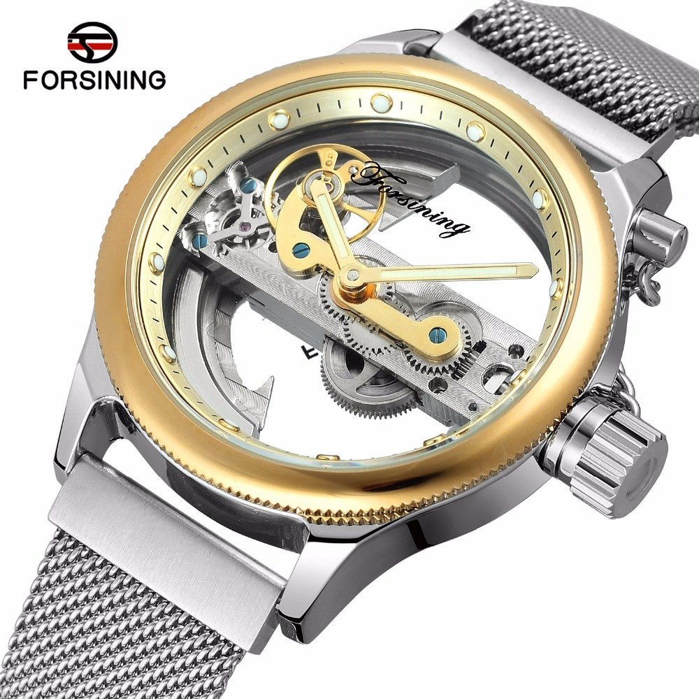 FORSINING Gold Case Transparent Hollow Skeleton Mechanical Watch Men Silver Mesh Stainless Steel Self Wind Automatic Watch Men tevise fashion auto date automatic self wind watches stainless steel luxury gold black watch men mechanical t629a with tool