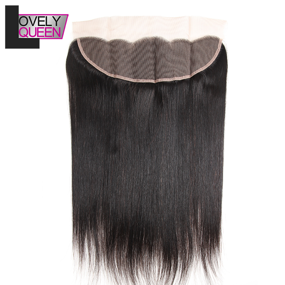 Lovely Queen Hair Peruvian Human Hair Straight Lace Frontal 13 X4 Inch Natural Hairline With Baby Hair