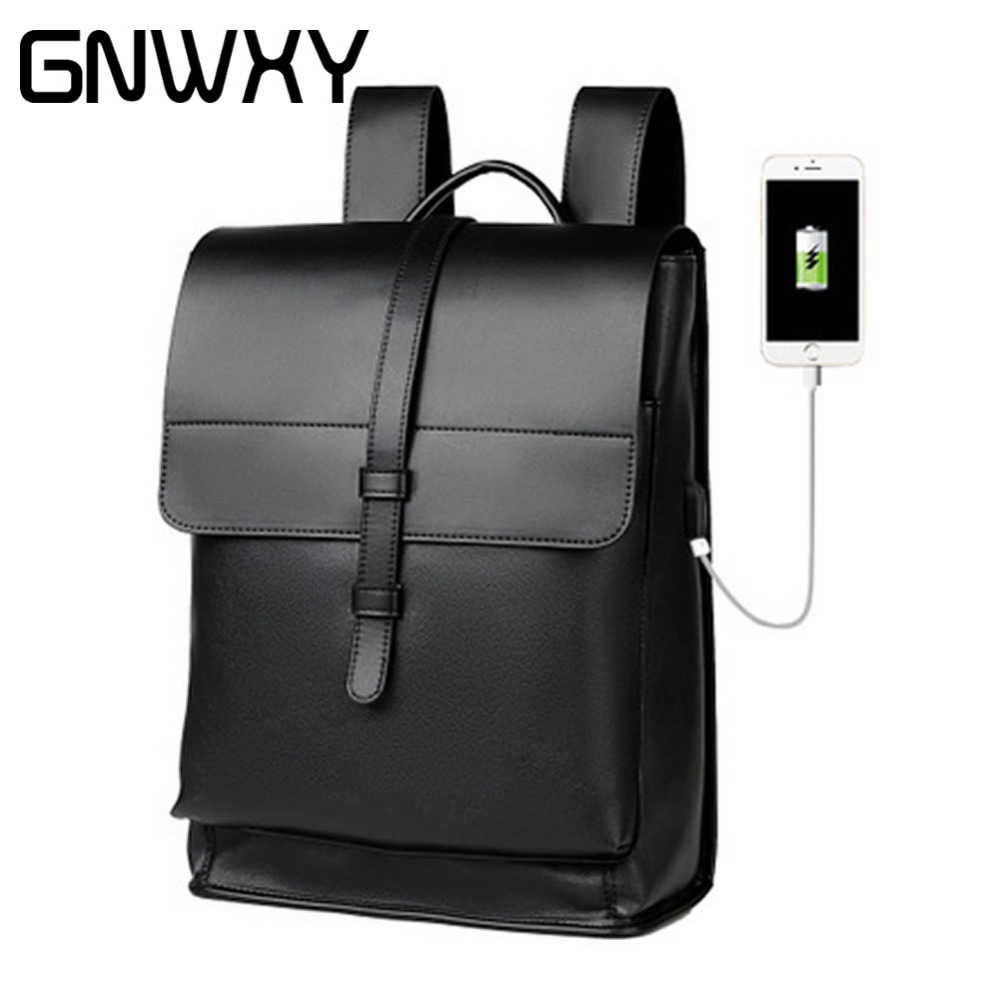 GNWXY Soft Leather Neutral Men Business Backpack Wearproof 16 Inch Laptop Student Schoolbags Travel Bags For Teenagers BackpacksGNWXY Soft Leather Neutral Men Business Backpack Wearproof 16 Inch Laptop Student Schoolbags Travel Bags For Teenagers Backpacks