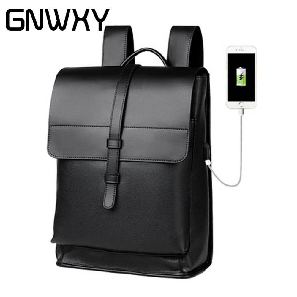 GNWXY cuir souple neutre hommes d'affaires sac à dos résistant à l'usure 16 pouces ordinateur portable étudiant cartables sacs de voyage pour adolescents sacs à dos