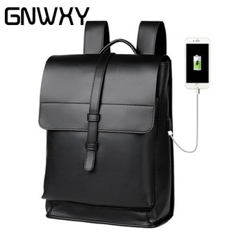 GNWXY miękkie PU Leather mężczyźni plecak biznesowy wodoodporne torby szkolne dla 16 Cal Laptop zarezerwuj torby podróżne torby Student torby szkolne tanie i dobre opinie Trudno uchwyt Tłoczenie Miękka Pasy Łukowaty pasek na ramię B-05 Prawdziwej skóry NONE COVER Poniżej 20 litr Stałe