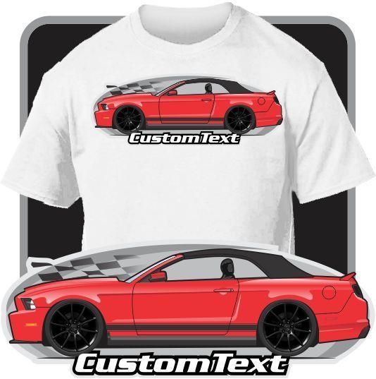 Print Men T Shirt Summer Custom Art Tee 10-14 Mustang 5.0 GT Convertible Top Up Not Affiliated W American Classic Car Fans Tee