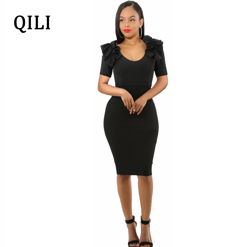 QILI Ruffles Short Sleeve Dress Back Zippers O Neck Women Bodycon Dresses Elegant Ladies Slim Pencil Dress Blue Red Black in Dresses from Women 39 s Clothing