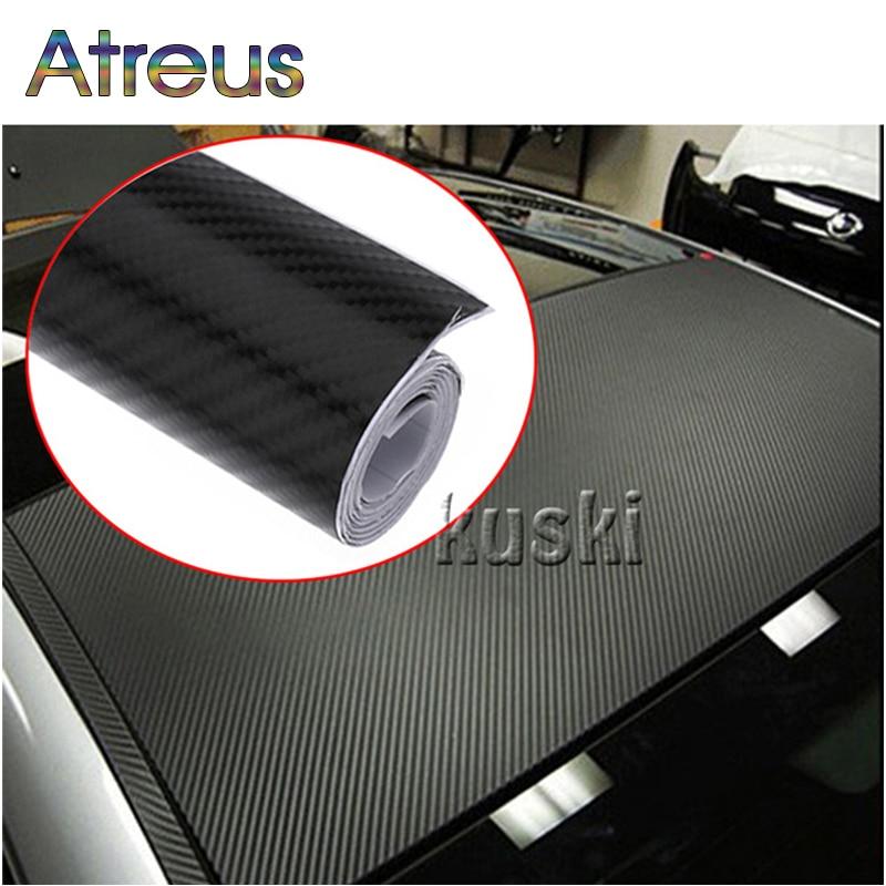 Atreus 30X127cm 3D Carbon Fiber Vinyl Car Sticker For Lada Vesta Granta Priora Suzuki Vitara SX4 Hyundai Tucson Accessories 2017 4pcs set smoke sun rain visor vent window deflector shield guard shade for hyundai tucson 2016