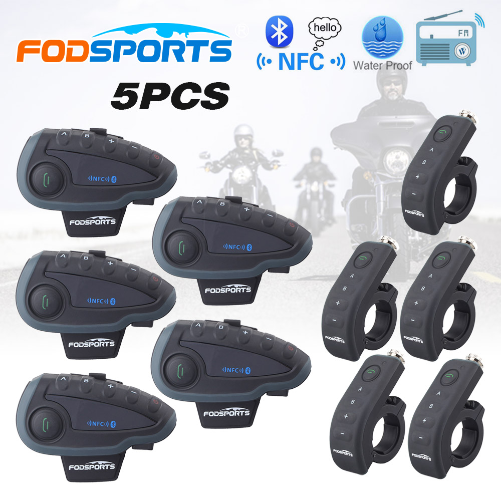 5 pcs V8 1200m Motorcycle Helmet Bluetooth Intercom Headset 5 Riders Moto Intercomunicador with Remote Controller NFC FM lexin 2pcs r6 1200m bt motorcycle wireless intercom helmet headsets for 6 riders intercomunicador bluetooth para motocicleta