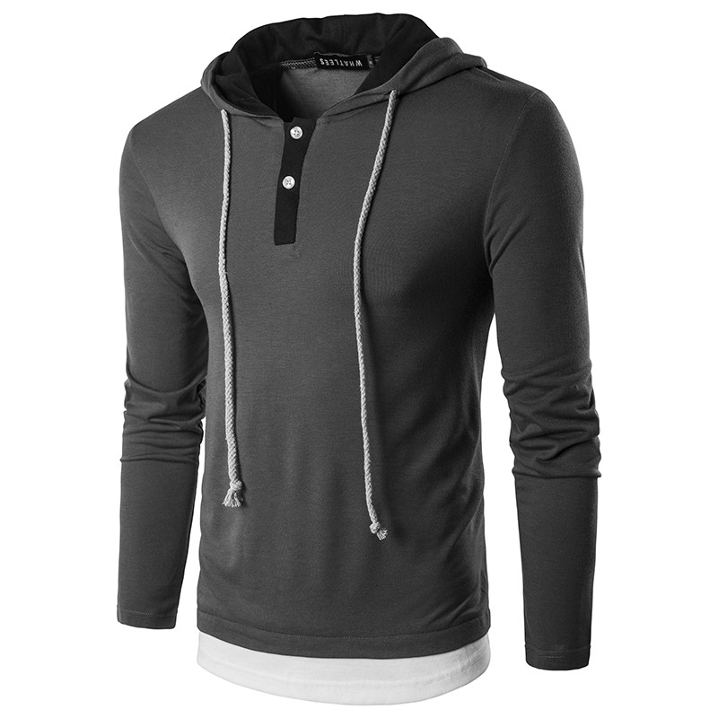 Fumud Fashion Trend Brand Clothing Mens Long Sleeve Hoodie Hooded Sweatshirts Design Solid Cotton Casual Tops Coat homme Shirt