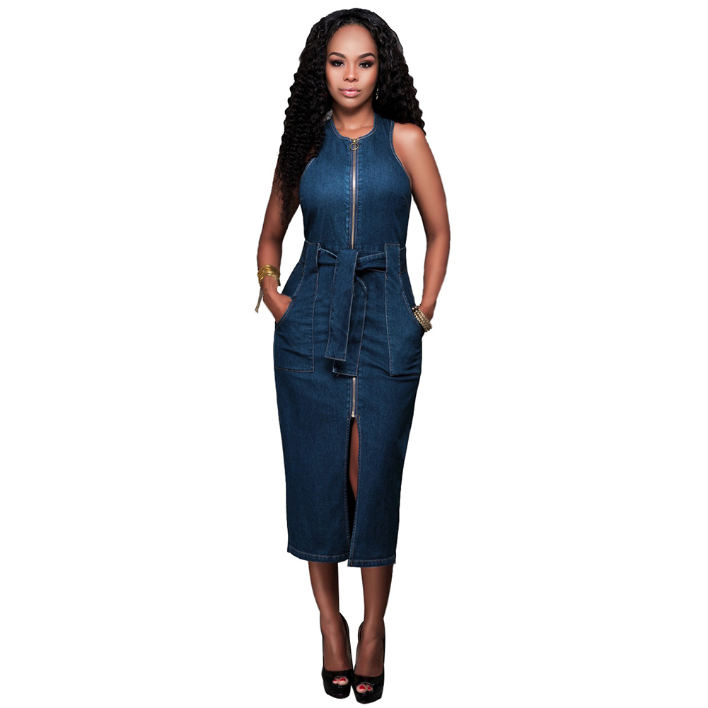 2018 Women <font><b>Dress</b></font> <font><b>Jean</b></font> Solid Zip <font><b>Sexy</b></font> Sleeveless Slit Vintage O-Neck Bodycon Clubwear Casual Fashion Party Long Mid-Calf <font><b>Dress</b></font> image