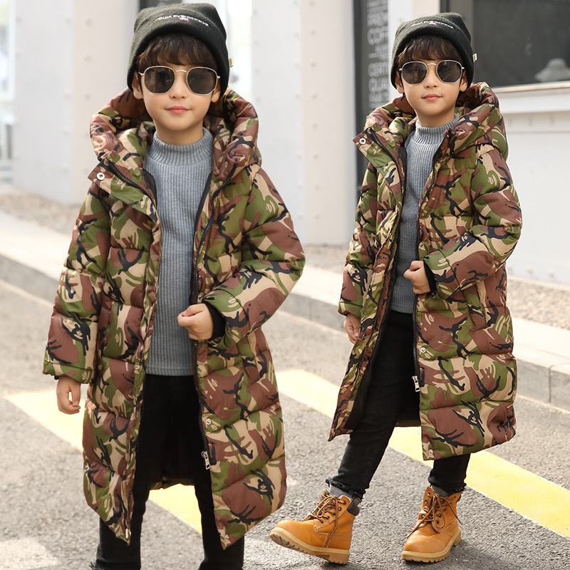 Boys Winter Down Jacket Coat Size 4 6 8 10 12 14 Years Camouflage Print Hooded Coat Keep Warm Kids Cardigan Winter Clothes 5A08A