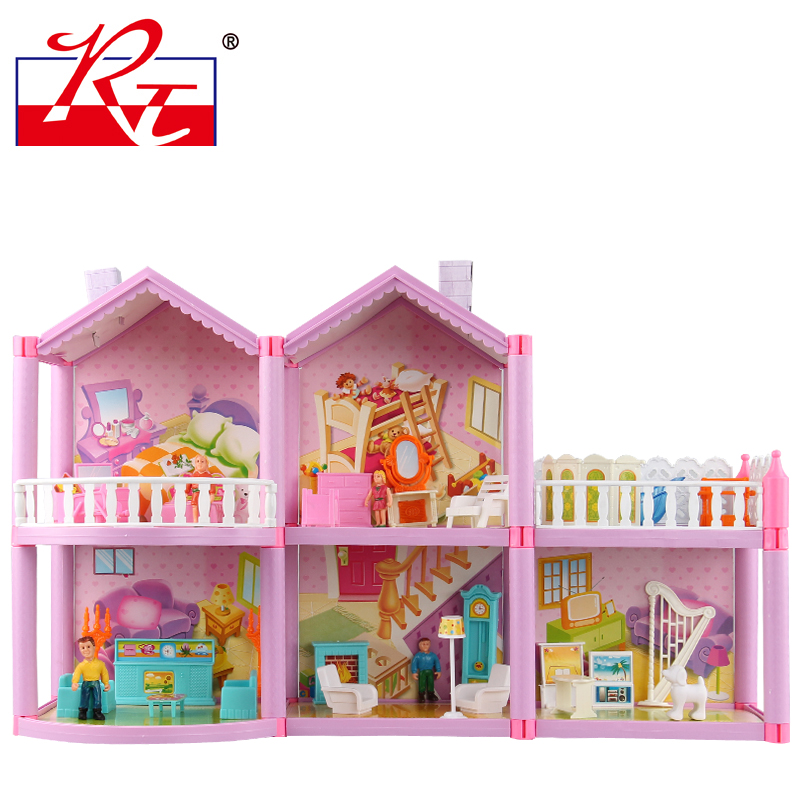 ФОТО Plastic Doll House toys for children toys  dollhouse  miniatures with simulation room furniture  DIY assembly toys girl gift