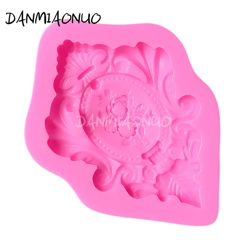 DANMIAONUO Retro กรอบรูปแม่พิมพ์ซิลิโคน fondant CUTTER เค้กตกแต่งเค้กช็อกโกแลต Mold ครัวเบเกอรี่รูปแบบ 3D ขนม A100742