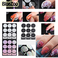 2016 New 9 Design Pack Hollow Flowers Nail Art Stamping Template Stencil Vinyl Polish Nail Sticker