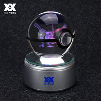 Greninja Dragonite 3D Crystal Ball Pokemon Go Glass Ball Home Decoration Lamp LED Colorful Rotate Base Child's Christmas Gift