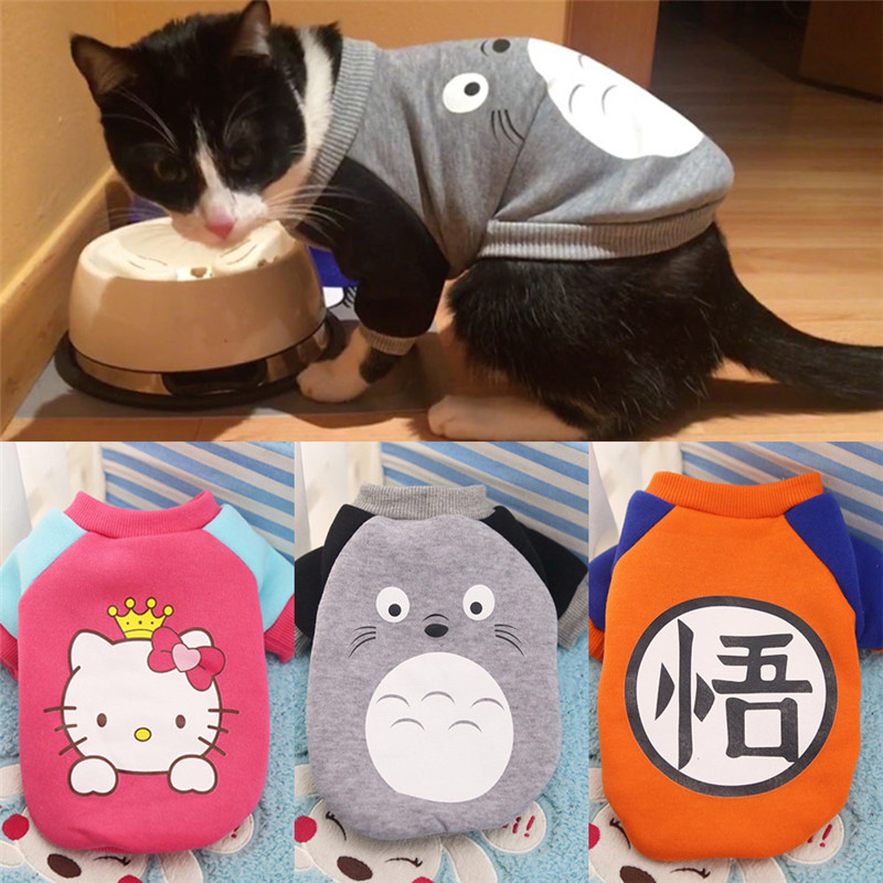 Autumn/winter Warm Pet Cat Clothes For Small Cats Cute Kitten Clothes Kitty Coat Jacket Cartoon Costume Clothing For Small Pets