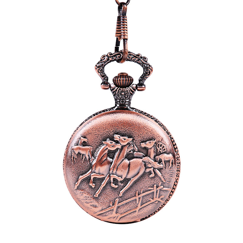 Vintage Queen Ancient Red Horse Pentium Scrub Face Pocket Watch Hot New Classical Wind Pocket Watch With Waist Chain