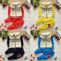 Spring And Autumn Spiderman Baby Boy Suit Hoodies Coat Long Pants Sports 2pcs Suit 3 Colors