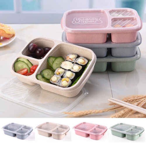 450ml Healthy Material Lunch Box 1 Layer Wheat Straw Bento Boxes Microwave Dinnerware Food Storage Container Lunchbox