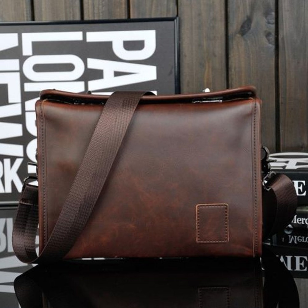 New 2018 Men Crazy Horse PU Leather Cross Body Messenger Shoulder Pack Clutch Bag Handbag Wallet Purse Portable Wrist Bag new men s crazy horse genuine leather messenger shoulder pack documents business portable clutch bag portable wrist bag