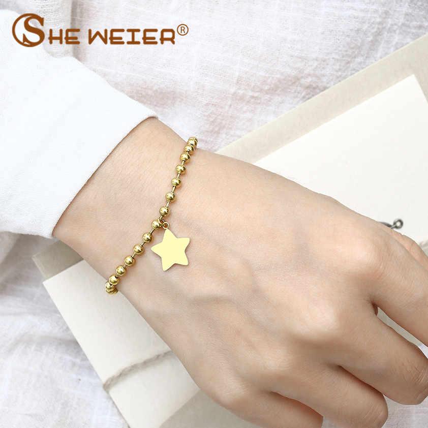 SHE WEIER charm chain link beads bracelet female femme p bracelets for women accessories jewelry silver gold stainless steel