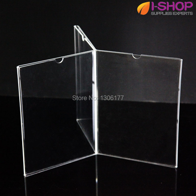 Acrylic Table Tent Is Six Sided For A Signs Menu Display DL Photo - Acrylic table tent holders