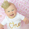 1PCS Adorable Gold Glitter Newborn Crown Lace Headband for Baby Girl 0-3 Years Old Kids Birthday Gift Baby Hair Accessories