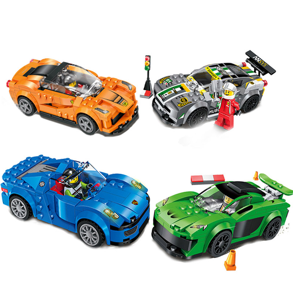 4color/set Speed Racing car Building Blocks Compatible Legoed City Racing Car Figures Eductional bricks Toys For Children Gift lepin 02012 city deepwater exploration vessel 60095 building blocks policeman toys children compatible with lego gift kid sets