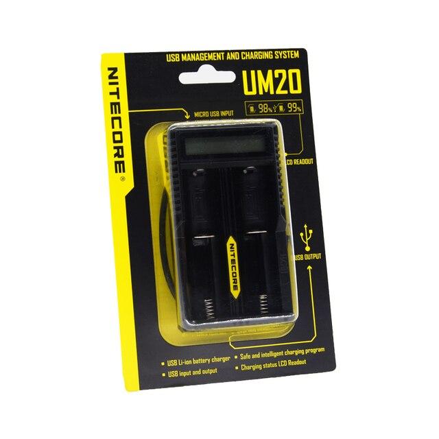 Chegada nova Nitecore UM20 Lcd Carregador de Bateria Inteligente Carregador de Bateria Universal Nitecore Carregador com cabo usb