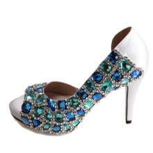 Hand sewn crystal turquoise aqua blue woman shoes bridal wedding party prom pumps small big size something blue diamonds heels