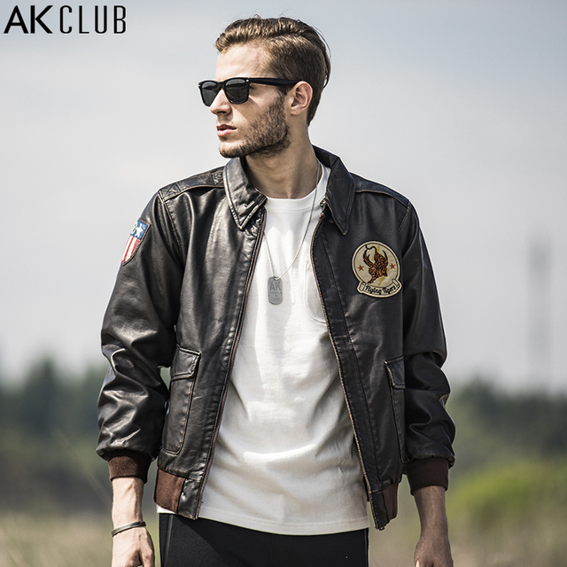 AK CLUB Brand Men PU Jacket Vintage Military Style Jacket Flying Tigers  Embroidery A-2 Bomber Jacket Men Flight Jacket 1704128 30425123605