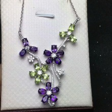 [MeiBaPJ]Natural Peridot & Amethyst Gemstone Flower Necklace with Certificate 925 Pure Silver Fine Jewelry for Women