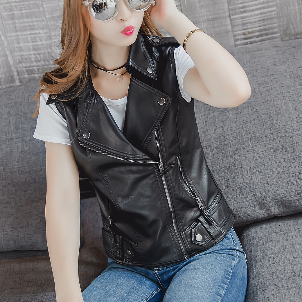 leather jacket women PU vest, water-washed leather vest jacket sleeveless women pu leather vest hight quality motorcycle leather ...