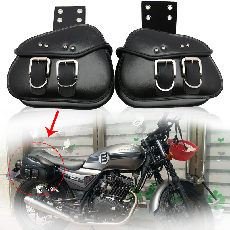 Black Saddlebags Side Storage For Harley Dyna Softail Sportster Touring Street Bob/Kawasaki VN Classic Nomad Drifter 1500 1700