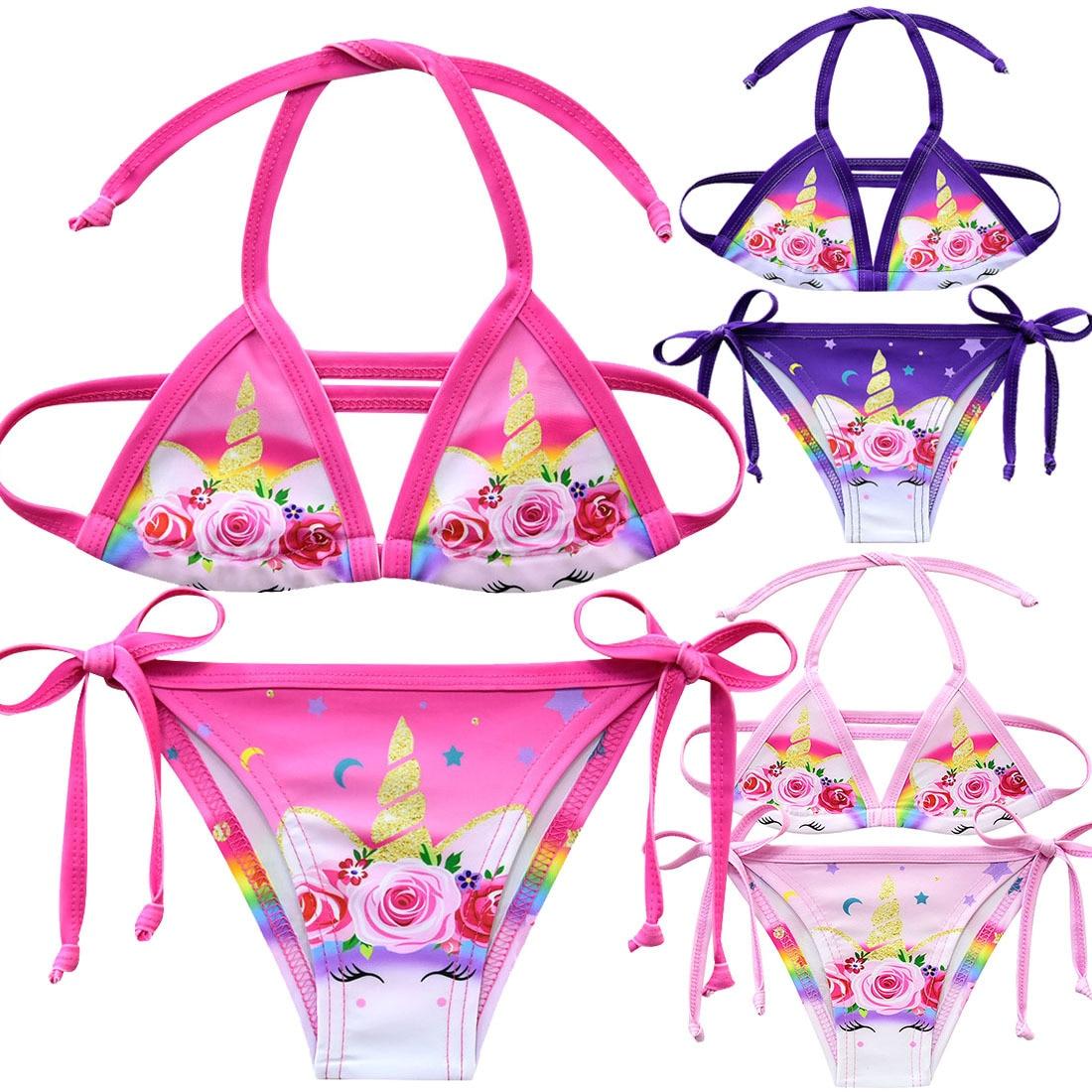 Girls Bikini Suits Unicorn Swimsuit For Girls 2019 Fashion Beach Wear Children Girls Cute Two-pieces Bathing Suits G48-8068