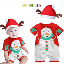 100% Cotton Baby Boy Christmas clothes Snowman Christmas clothing set  top+hat