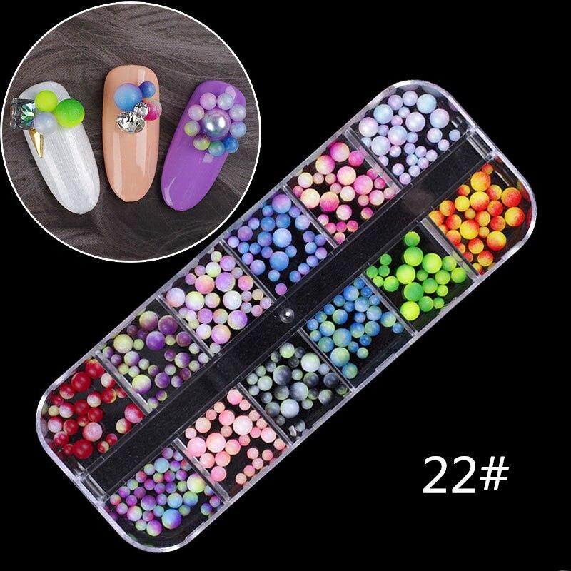 12 Color/Box Nail Crystal Colorful Jelly Rhinestones 3D Nail Art Decor Glitter Gems Stones Manicure DIY Set Flatback Beads