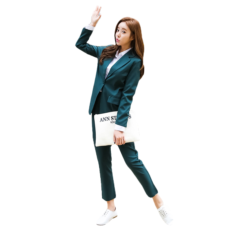 New Arrived Women Suit 2018 Fashion Slim Business Office OL Dark Green Jacket Set Formal Blazer + Pants Suit Feminino Female