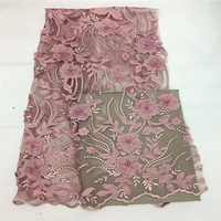 New Hand Embroidery Nigerian Lace Fabrics Pink French Tulle 2018 Africa Lace Fabric With Beads and 3D Flowers For Wedding Dress
