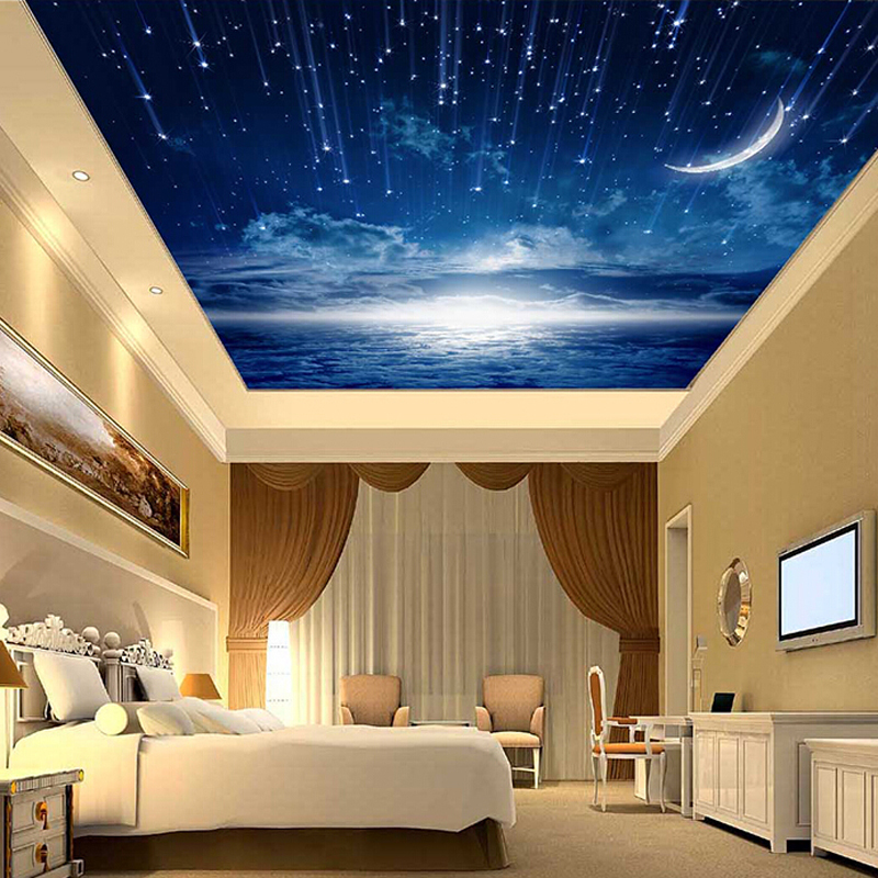 3d Wallpaper Mural Night Clouds Star Sky Wall Paper: 3D Star Nebula Night Sky Large Suspended Ceiling Painted