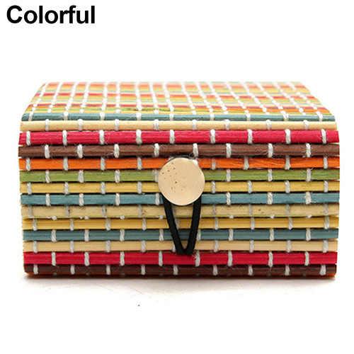 Cajas de almacenamiento de joyas de bambú de madera anillo collar aros caja de joyería Cajas de Regalo 11 colores caja de joyería caja de regalo