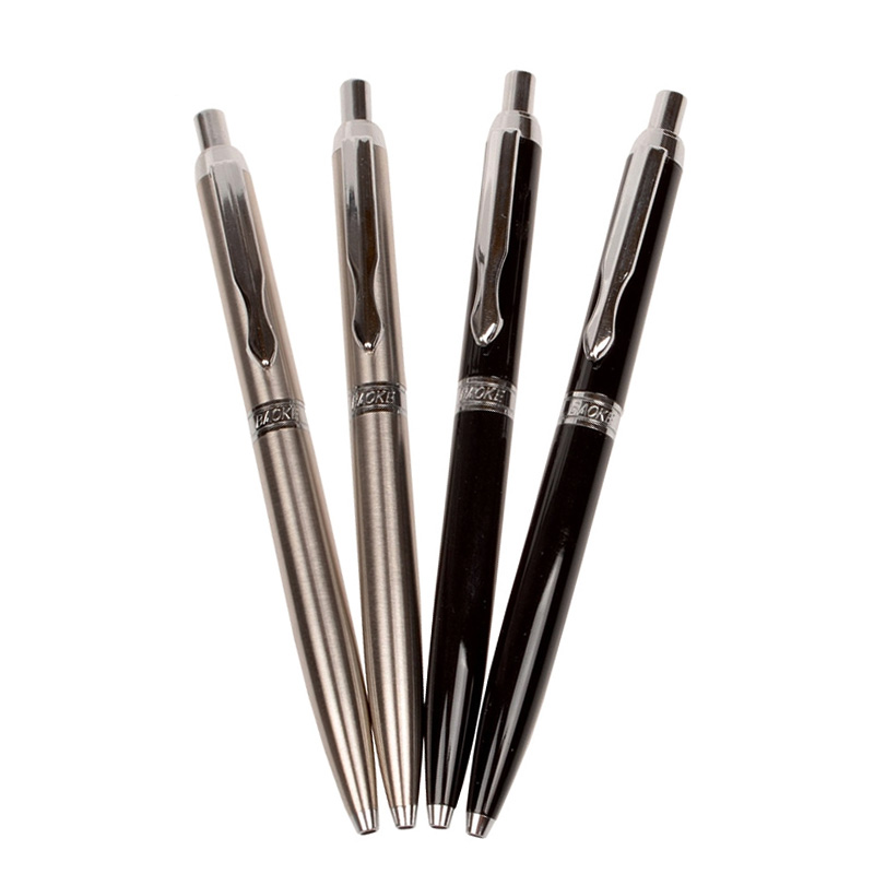 BAOKE Metal pen holder press ball pen 1.0mm business special thick stroke writing pen segal business writing using word processing ibm wordstar edition pr only