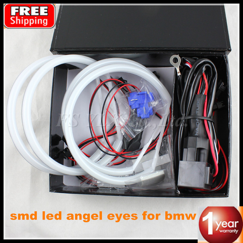 ФОТО Ultra bright 4*131mm 3014 SMD LED Angel Eyes for BMW E46 E39 E38 E36 projector led headlights best quality halo ring kit white