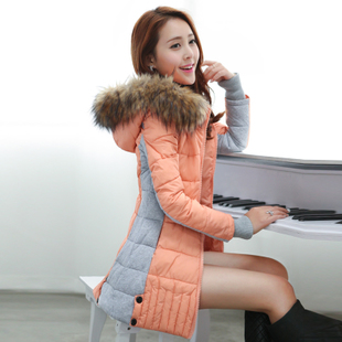2014 New WomenS Long Cotton-Padded Slim Thick Warm Winter Jacket Full Sleeve Fur Collar Stitching Hooded Outwears H2026