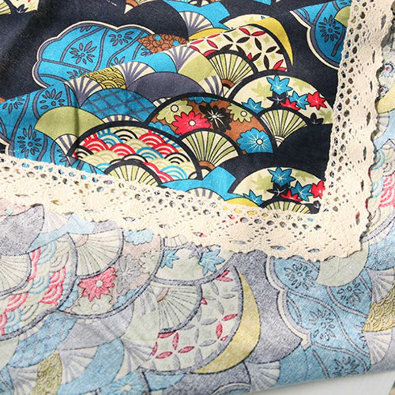 اليابانية القطن طرحة الطاولة القماشية الرجعية الأحمر و الأزرق مروحة الطباعة غرامة القطن سماط متعددة الأغراض ديكور منزلي غطاء