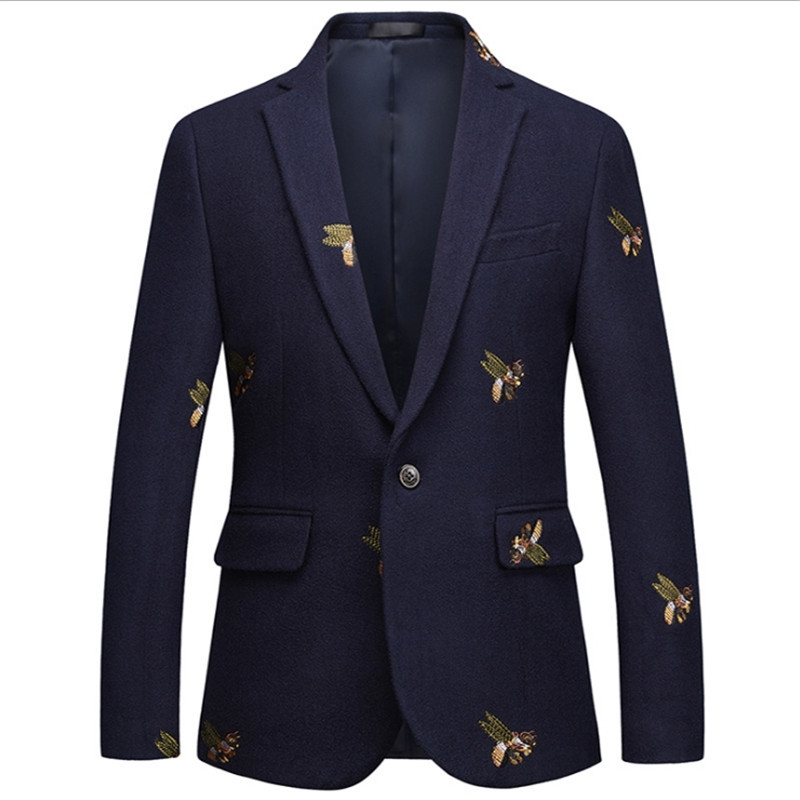 Plus Size Male Spring One Button Blazer Bee Embroidery Wedding Smart Casual Slim Fit Jacket High Quality Navy Blue Clothes