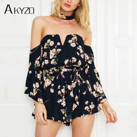 AKYZO 2017 Off Strapless Boho Floral Print Jumpsuits Women Sexy Party Playsuits Rompers Backless Bow Overalls Drop Shipping