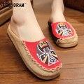 2017 Летние Женщины Тапочки Китайский Стиль Пекин Повседневная Женская Обувь Холст Конопли Пляжная Обувь Дамы Женской Обуви SNE-192