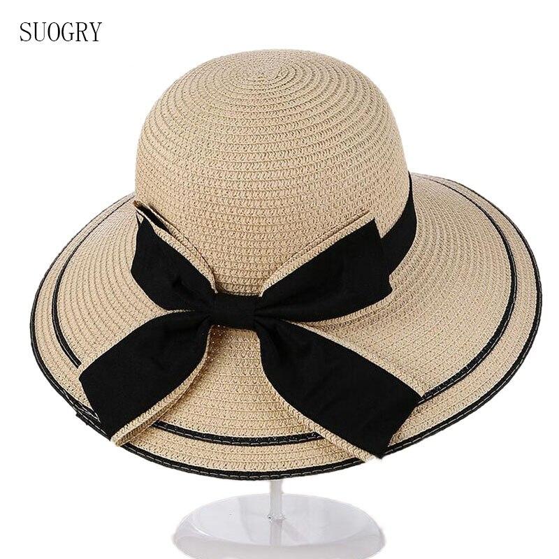 Женская соломенная шляпа SUOGRY Sun, летняя складная шляпа с большим черным бантом для пляжа, Панама с козырьком и широкими полями, 2017