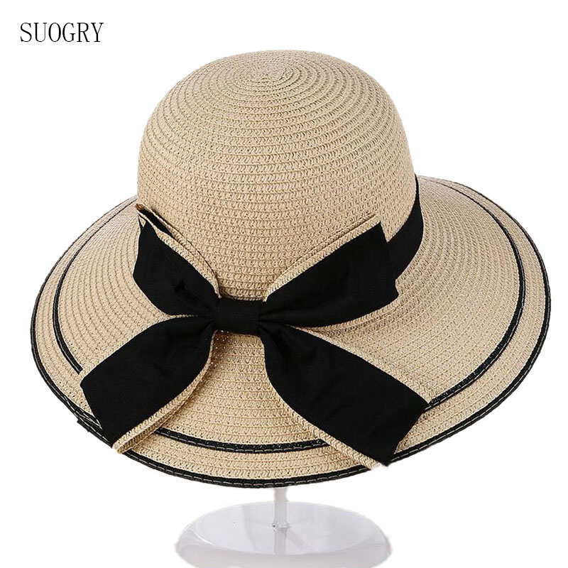 SUOGRY Sun Hat Big Black Bow Summer Hats For Women Foldable Straw Beach Panama Hat Visor Wide Brim Femme Female 2017 New