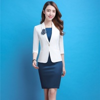 New High Quality Spring Autumn Formal Blazers Suits With Jackets Coat And Dress Slim Fashion Female Office Uniforms Plus Size